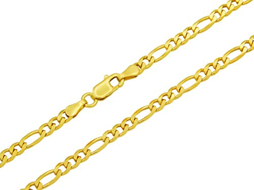 Figarokette 925 Sterling Silber vergoldet 3,5mm breit Länge wählbar 45 50 55 60 cm Silberkette Halskette Gold Kette Damen (50)