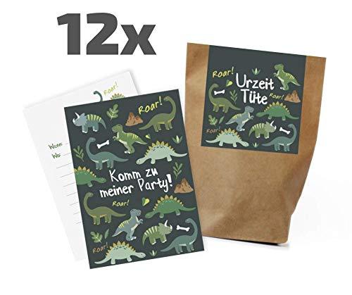 Ideenverlag 12x Dinosaurier Einladungskarten + Partytüten - Set zum Kindergeburtstag / Einladungen / Mitgebseltüten / Geschenktüten / Give-aways / Geburtstag / Kinder / Set