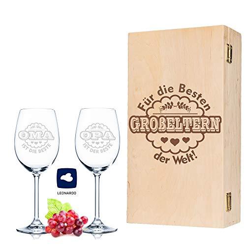 Leonardo Weingläser Oma ist die Beste & Opa ist der Beste im 2er Set - inkl. gravierter Vintage-Holzkiste - Geschenk für Oma & Opa - Geburtstag Großeltern