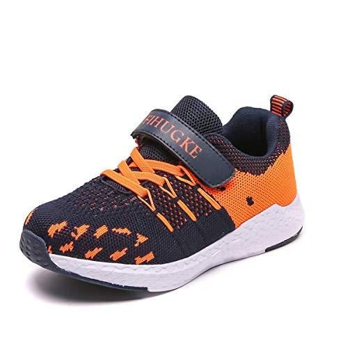 FIHUGKE Kinder Schuhe Sportschuhe Ultraleicht Atmungsaktiv Turnschuhe Klettverschluss Low-Top Sneakers Laufen Schuhe Laufschuhe für Mädchen Jungen, Blau, 32 EU