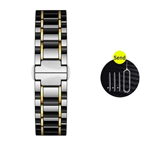 KILPILLS - Correa de cerámica de 22 mm para reloj Galaxy 46 mm/Gear S3/para reloj GT 2 de cerámica natural con hebilla de acero inoxidable y hebilla de mariposa de 22 mm