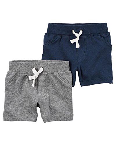 Carter's Baby Boys' 2-Pack Shorts Newborn, Blue/Gray