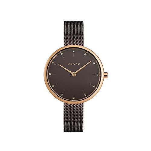 Obaku Notat Walnut V233LXVNMN - Reloj de pulsera con correa de malla marrón para mujer