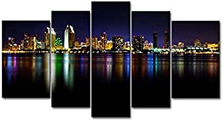 Yuanclllp - City Landscape Paintings Wall Art San Diego Colorful Reflection Sea 5 Panel Picture Print on Canvas for Modern Home Decoration