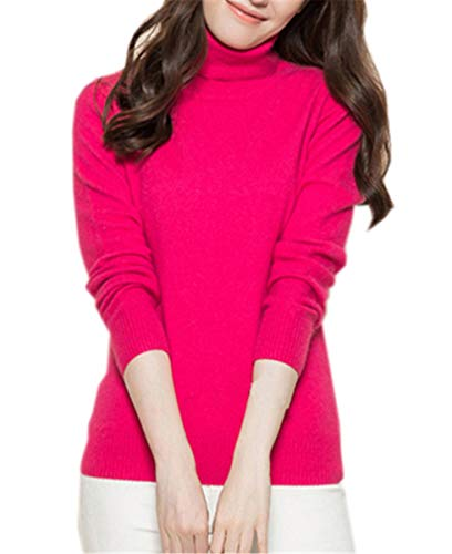 DAIMIDY Women's Turtleneck Cashmere Sweaters Winter Cashmere Sweater Hot Pink, US L/12-14