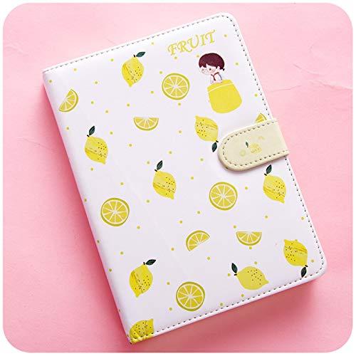Cuaderno Cuaderno con Estampado de Frutas Planificador Hebilla magnética Cuaderno de PU Agenda Anual Ilustración en Color Plan Diario