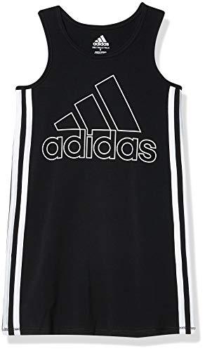 adidas Girls' Toddler 3 Stripe Tank Dress, Black, 3T
