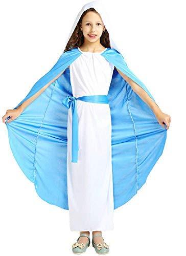 Disfraz de virgen maría - madonna - disfraz - carnaval - halloween - accesorios de máscara - niña - color azul claro y blanco - talla xl - 9-10 años - idea de regalo para navidad y cumpleaños