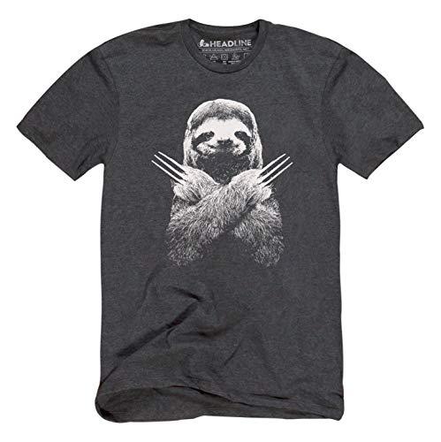 Headline Shirts Slotherine Funny Graphic Screen Printed Crewneck T-Shirt for Men - M, Black