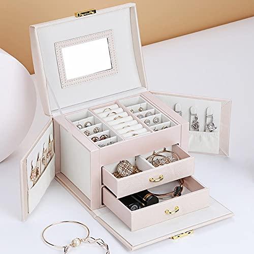 POMNEFE Caja de joyería, caja de joyería de diseño simple de tres capas, caja de joyería de almacenamiento de cuero, caja de joyería portátil para mujer de gran capacidad