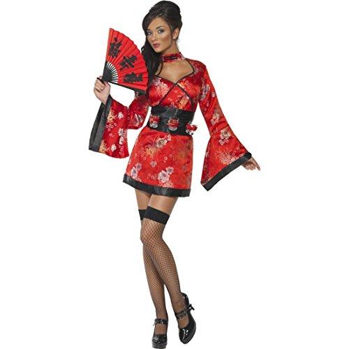 NET TOYS Sexy Geisha Kostüm Chinesin Damenkostüm S 36/38 Kimono Japanerin Damen Outfit asiatische Verkleidung Geishakimono