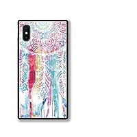 chatte noir iPhoneSE(第2世代) ケース se2 強化ガラスケース iPhonese2 ケース 背面ガラス TPU 光沢 ツヤ スクエア スマホケース おしゃれ ドリームキャッチャー dreamcatcher 水彩 可愛い 大人かわいい B