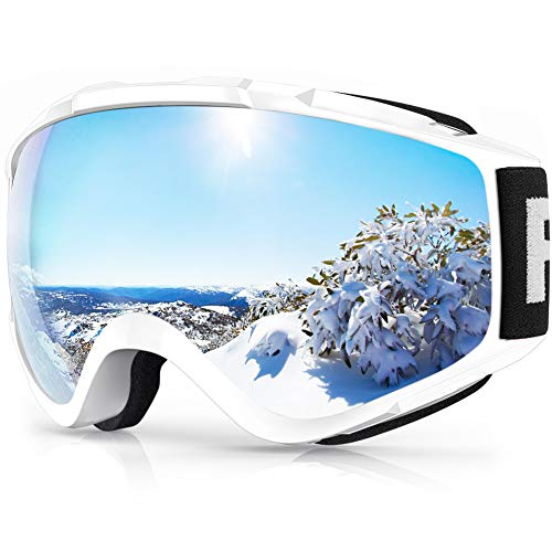 Ski Goggles, Findway Snow Goggles, Snowboard Goggles, Upgraded OTG Wide Vision Baseball Lens, Windproof, Snowproof, Fogproof, UV Protection, Glasses Compatible, Lightweight and Shockproof, Suitable for Adult Men and Women Sports Goggles