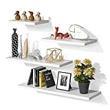 White Floating Shelves Invisible Wall Mounted 4 Sets, Modern Faux Wood Storage Shelves with Matte...