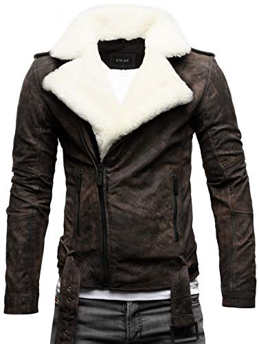 Crone Tjor Herren Shearling Lederjacke Biker Jacke mit Gürtel aus Rindsleder (S, Elephant (Nubukleder))