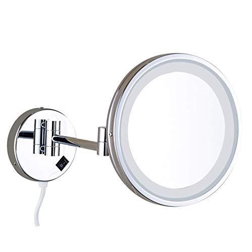 WANGXIAOLINJINGZI Espejo de tocador LED de baño de un Solo Lado, Espejo de Afeitado de Pared, Espejo de Maquillaje de iluminación Plegable, Espejo de magnificación 3X, para baño