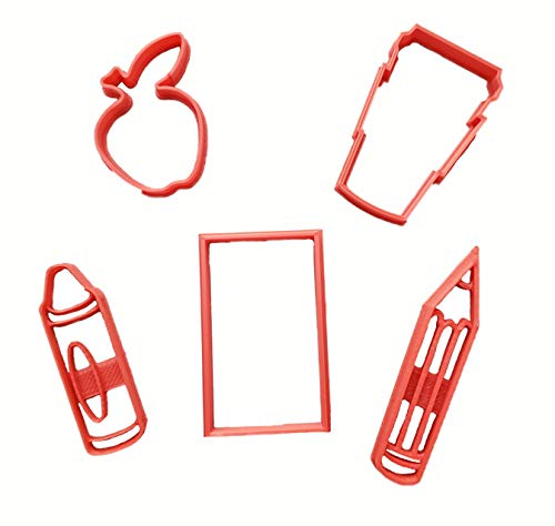 Teacher Apple, Paper, Pencil, Crayon and Coffee To Go Cookie Cutters (5 Pack)