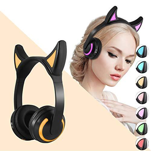 Auriculares inalámbricos con Orejas de Gato, Auriculares LED Brillantes con Colores RGB, Auriculares Bluetooth sobre la Oreja para Android/iPhone/iPad/Laptop/PC/TV (Devil Ears)