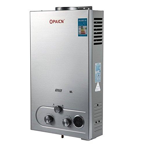 Anhon Tragbare Tankless Warmwasserbereiter 8-18L LPG Gas Propan Durchlauferhitzer Tankless Instant Boiler mit Duschkopf und LCD Display (8L 16kw)