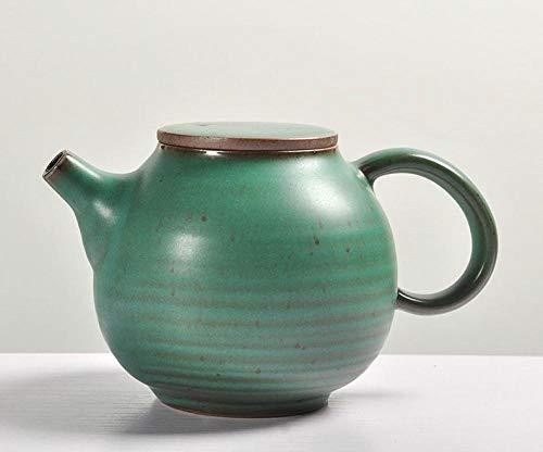 Tetera de porcelana de estilo japonés Tetera de gres de estilo japonés, olla de tapa plana hecha a mano, olla de mano, juego de té de Kung Fu, tetera, olla individual