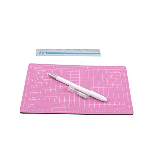 litulituhallo Kit de corte de artesanía Mat Pad Board grabado pluma metal regla oficina 3 piezas estilo 5