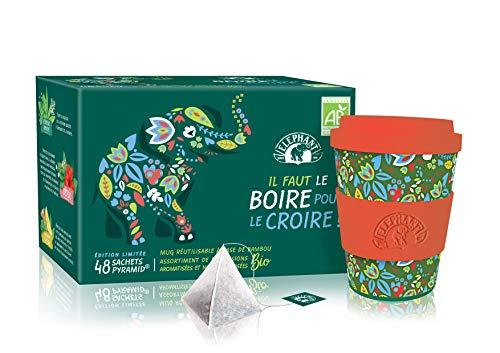 Elephant Coffret  Assortiment de 6 Infusions Biologiques Aromatisées, Mug en Bambou Réutilisable, Certifié AB Agriculture Biologique, 48 Sachets
