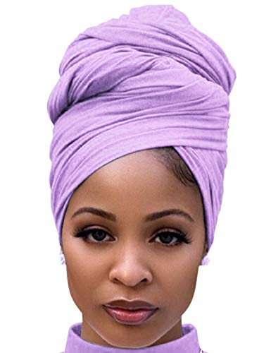 Hair Scarves for Women Cotton Long Stretch Jersey Hair Wrap for Ponytails at Night Light Purple