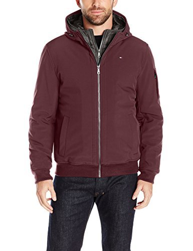 Tommy Hilfiger Men's Soft Shell Fashion Bomber with Contrast Bib and Hood, Port/Black, M