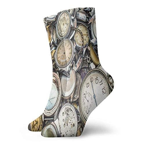 Ahdyr Calcetines casuales de tobillo alto, tema antiguo Una pila de varios relojes de estilo vintage diferentes Diseño de patrón retro