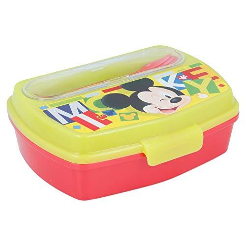 Stor Mouse Mickey Sandwichera+Besteck grün/rot 44209