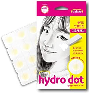 ElaBand Hydro dot - Acne Hydrocolloid Patch(12mm / 48 patches), Invisible, Pimple spot treatment / Easy to use, Simple individual cutting.