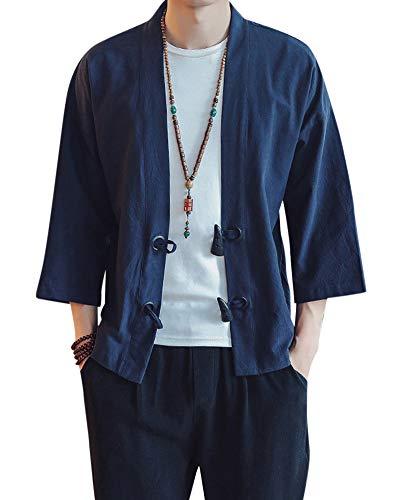 Hombre Chaqueta Chino Tradicional Manga 3/4 Artes Marciales Kung Fu Kimono Cardigan Armada 2XL