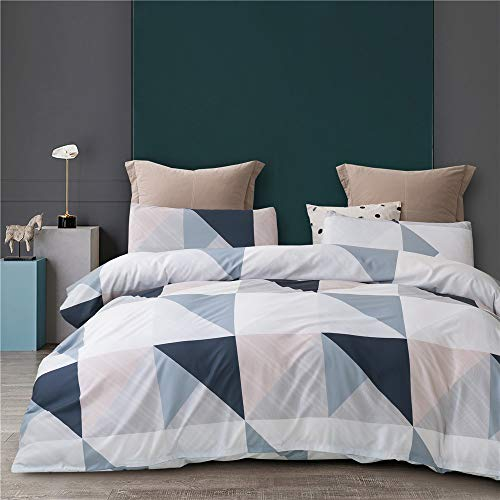 HYPREST Queen Duvet Cover Set - 3 Pcs Queen Soft Triangle Duvet Cover Set Aztec Comforter Cover Geometric Bedding Set Modern Style Wrinkle and Fade Resistance, Oeko-TEX Certificated (No Comforter)
