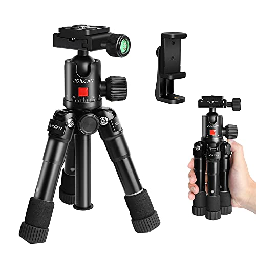 JOILCAN Tabletop Tripod 20in Aluminum Portable Desktop Camera Mini Tripod, Compact Travel Tripod Loads up to 15 lbs for DSLR/Phone Video with 360 Degree Ball Head & Phone Mount - H20 Black