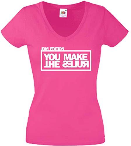 JINTORA T-Shirt - Chemise Chemise Femme Rose - V-Cou - Taille S - édition JDM Vous Faites Les règles - JDM/Die Cut - la fête Carnaval Travail et Loisirs