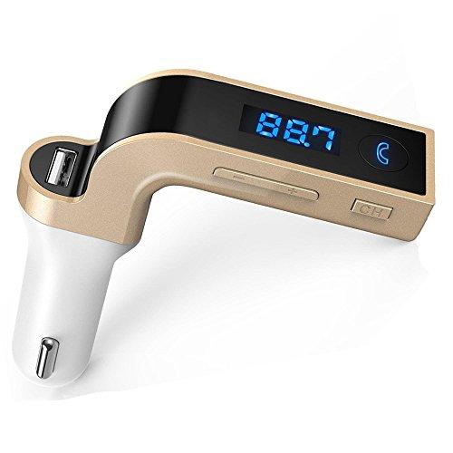Megadream - Caricabatterie per auto, Bluetooth/Wireless, trasmettitore FM, kit vivavoce con collegamento aux-in, cancellazione del rumore CVC, schermo a LED, per Google Nexus, Android, iPhone