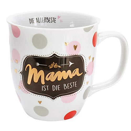 H:)PPY life 45573 Tee-Tasse mit Motivdruck Mama ist die Beste, Geschenk, Porzellan, 40 cl
