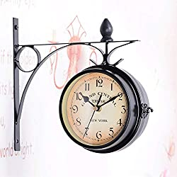 Outdoor Garden Wall Clock, Retro Double-Sided Wall Clock, Retro Dial of Waterproof Wall Clock Station, Fixed Pendulum with Rod, Suitable for Indoor and Outdoor Home Gardens
