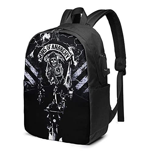 Hdadwy Soa-An-a_rch-y Rucksack für Damen und Herren, mit USB-Anschluss, 43,2 cm (17 Zoll) Schultertasche, Laptop, Schule, Studenten, Reisen, Rucksack