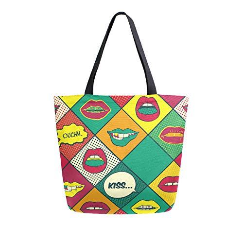 Funnyy Lippen Pop-Art Canvas Tragetasche Frauen Casual Schultertasche Strandtasche Handtasche Große Lebensmittel Wiederverwendbar Einkaufstasche Baumwolle Mehrzwecktasche für Lehrer Gym Arbeit