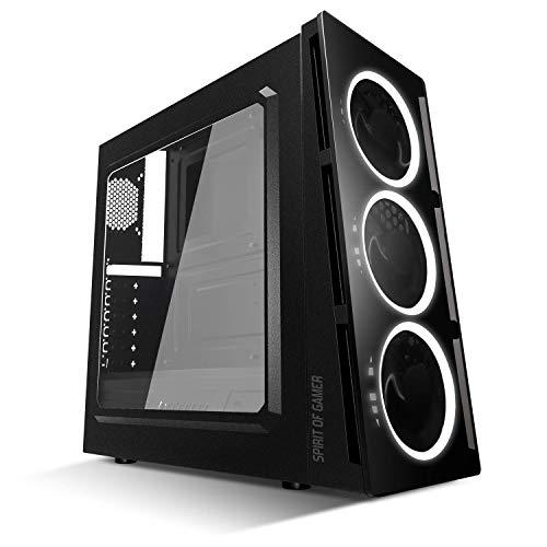 SPIRIT OF GAMER DEATHMATCH 5 - Gaming PC ATX Box - MATX - MITX compatibel / 3 frontventilatoren Single Ring LED - PC behuizing (wit)