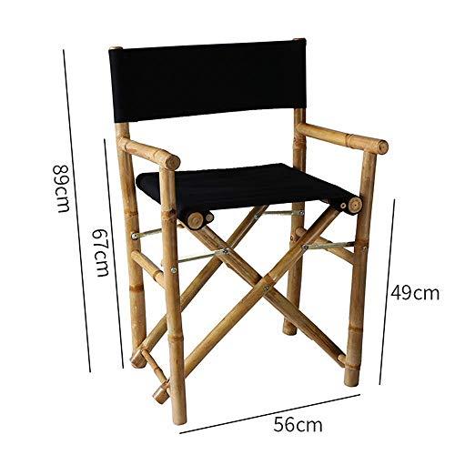 YZjk Schaukelstuhl Bambus Klappstuhl, Outdoor Tragbarer Segeltuchstuhl Freizeit Angelstuhl mit Holzarmlehnen, Einfacher Esszimmerstuhl für drinnen und draußen (Farbe: Schwarz)