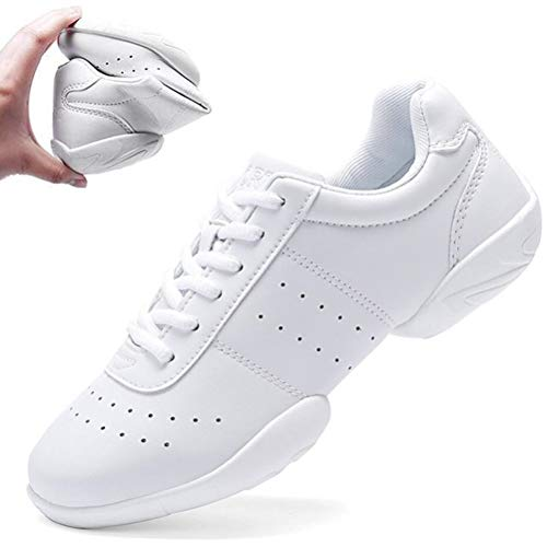 DADAWEN Women's Sport Training Cheerleading Shoes Dance Shoes Fashion Sneakers Cheer Shoes for Girls White US Size 8/EU Size 40