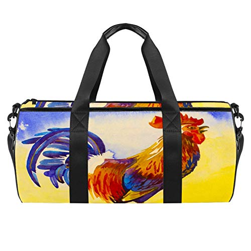 TIZORAX Sports Gym Bag Waterproof Roll Duffel Bag Rooster Cock in Yellow Sunrise Travel Gym Tote Dry Wet Separated Luggage for Women and Men