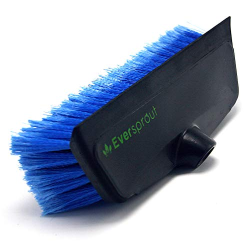 EVERSPROUT 11-inch Scrub Brush with Built-in Rubber Bumper   Soft Bristles wash Car, Truck, RV, Boat, Solar Panel, Floor   Bumper Prevents Scratches   Twists on 3/4-inch Acme Pole (Pole not Included)