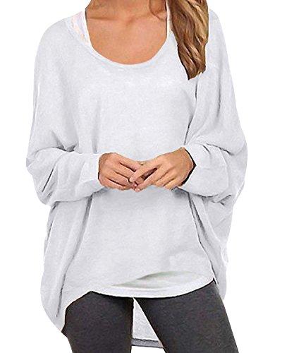 ZANZEA ZANZEA Damen Lose Asymmetrisch Jumper Sweatshirt Pullover Bluse Oberteile Oversize Tops Y-weiß EU 48/Etikettgröße 2XL