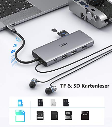 Docking Station für Macbook Triple Display USB C Adapter 12 in 1 USB C Hub MacBook Pro Adapter mit Dual 4K HDMI&VGA, 2*USB 3.0&2.0, Gigabit Ethernet LAN, 100 W PD, TF/SD Kartenleser, 3.5mm Audio/Mic