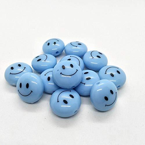10 cuentas de 18 mm con forma de sonrisa de 18 mm, cuentas de resina, pendientes de pulsera, collar para accesorios de joyería (color: azul, diámetro del artículo: 18 mm, 50 unidades)