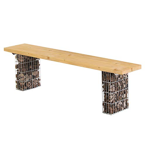 bellissa Gabionenbank - 97284 - Gartenbank ohne Lehne - Gabionen Sitzbank mit Sitzfläche aus Douglasien-Holz - 165 x 28 x 44 cm
