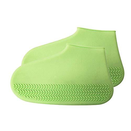 Overshoes Silicone Waterproof Shoe Cover Outdoor Rainproof Hiking Skid-Proof Shoe Covers Reusable Regenschuhe Überschuhe Schuhüberzieher Fur Unisex Kinder Damen und Herren (Green)